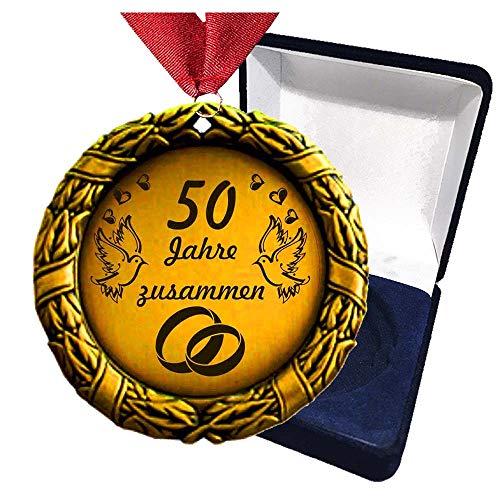 Larius Group Medaille Orden 50 Jahre zusammen Hochzeitzeit Hochzeitzeitsgeschenk Geschenk Auszeichnung Ehrenorden Wunschtext (mit Schachtel)