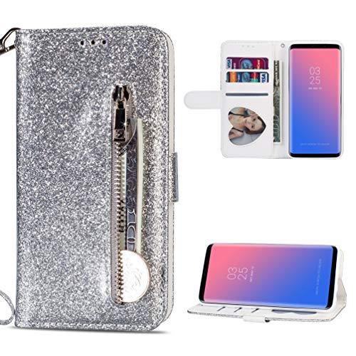 Edauto S9 Hülle Leder Kompatibel mit Samsung Galaxy S9 Handyhülle Glitzer Rei?Verschluss Flip Hülle Kunstleder Brieftasche Tasche Wallet Schutzhülle Bookstyle Ständer Kartensätze Magnetisch SilBär