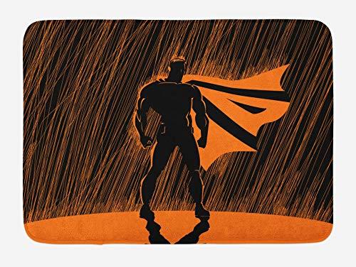 Alfombra de bao de superhroe, hroe disfrazado por la noche con superpoderes con estampado de hombre musculoso estilo dibujado a mano, alfombra de felpa para decoracin de bao con respaldo antidesl