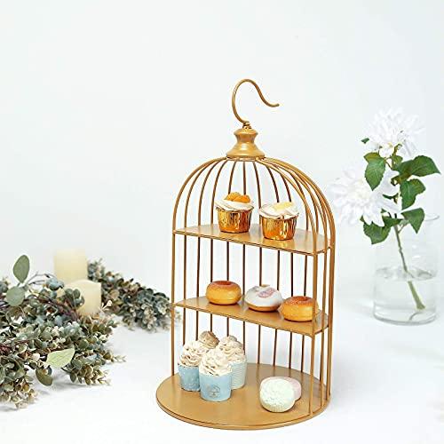 22'   3-Tier Hanging Gold Metal Bird Cage Cupcake Cake Stand, Dessert Display Stand