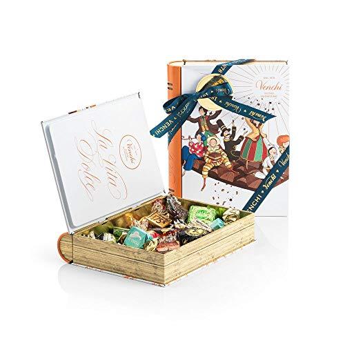 Venchi Scatola Regalo Con Cioccolatini Misti 36g, Maxi Libro In Latta - Senza Glutine, Cioccolato