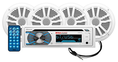 BOSS Audio Systems MCK508WB.64 Marine Stereo Package - Bluetooth, CD MP3 USB WMA AM FM Radio, 6.5 Inch Speakers, Antenna, Weatherproof