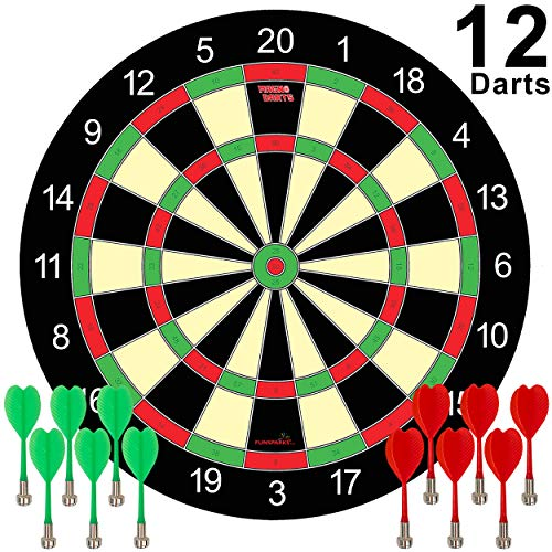 Magnetic Dart Board Game - 12 Darts - 6 Green and 6 Red Darts  Best Kids Toy Gift Indoor Outdoor Games for Family and Friends  Safe Dart Game Set