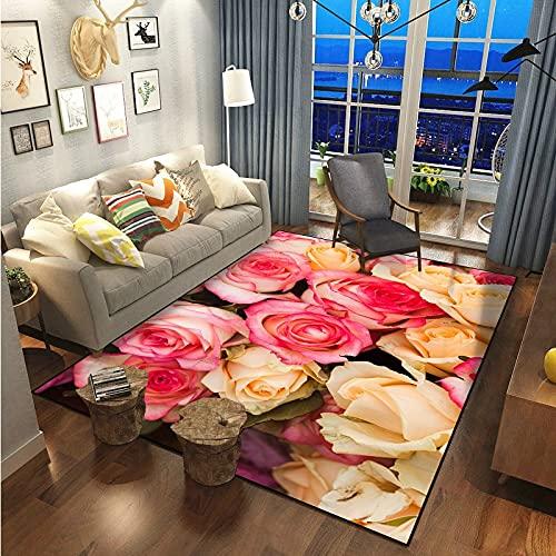 Alfombra De La Serie De Flores Rosas De Moda Y Simple Alfombra Gruesa Impermeable Y Antideslizante Adecuada para El Pasillo del Dormitorio con Ventana Salediza