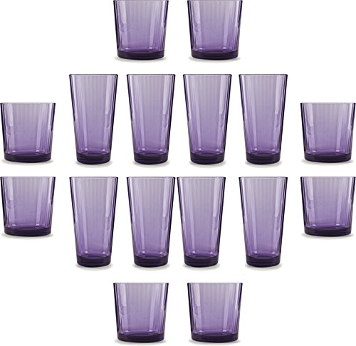 Circleware 44816 Spectrum Plum Huge Set of 16 Drinking, 8-17oz and 8-13oz Double Old Fashioned Whiskey Glass, 16 pc set