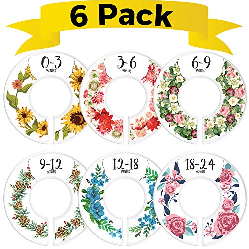 CORRURE Closet Dividers for Baby Clothes - Set of 6 Nursery Closet Size Dividers from Newborn to 24 Months - Best Baby Closet Hanger Organizer for Boy or Girl - Ideal Baby Shower Present (Flowers)