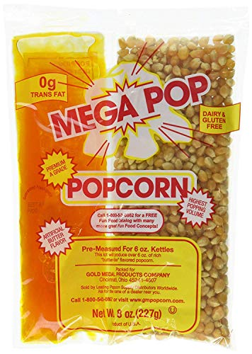 Perfectware 8oz Popcorn Portion Packs- (Box of 6 Portion Packs)