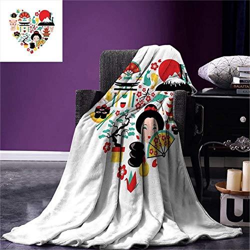 QNWLKJ Blanket Japanese He Land of The Rising Sun Culture Bonsai Tree Fuji Mountain Tea Sushi Soft Blanket 130X150Cm