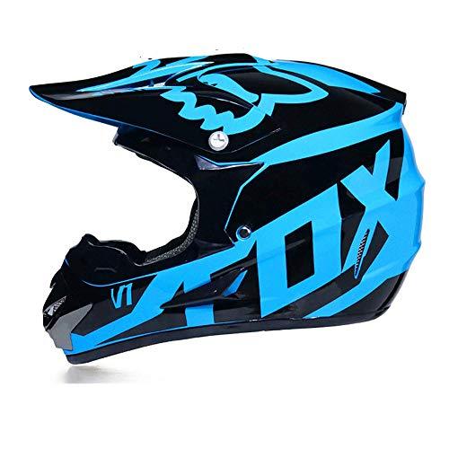 LSLVKEN Motocicleta Motocross Motocicleta Cascos y Parabrisas y Guantes y Gafas D.O.T Standard Kids Quad Bike ATV Go-Kart-Helmet Fox,Azul,M