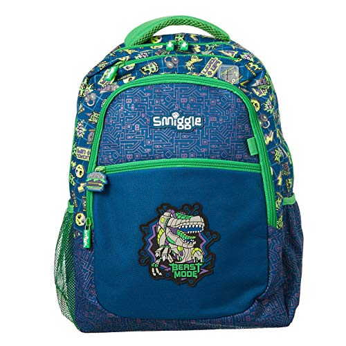 Smiggle Express Kids School Backpack for Boys & Girls with Laptop Compartment & Dual Drink Bottle Sleeves | Dinosaur Print