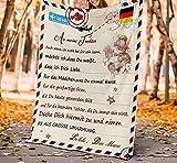 Manta personalizada para mamá y hija con carta impresa, manta de felpa suave encriptada para animar a la madre y a los seres queridos para Navidad, cumpleaños, graduación (100 x 130 cm)