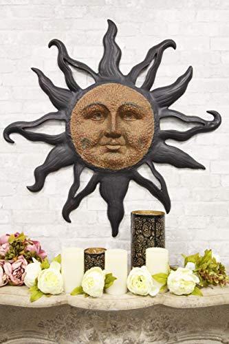 Ebros Aluminum Metal Belenos Celestial Solar Radiant Celtic Sun God Wall Hanging Decor 36.25' Diameter Figurine Home Decorative Rising Sun Face Plaque 3D Art Belenus The Shining God Sculpture
