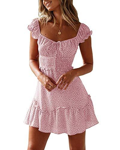 Ybenlover Damen Blumen Sommerkleid High Waist Volant Kleid Vintage Minikleid Strandkleid, Rosa, S