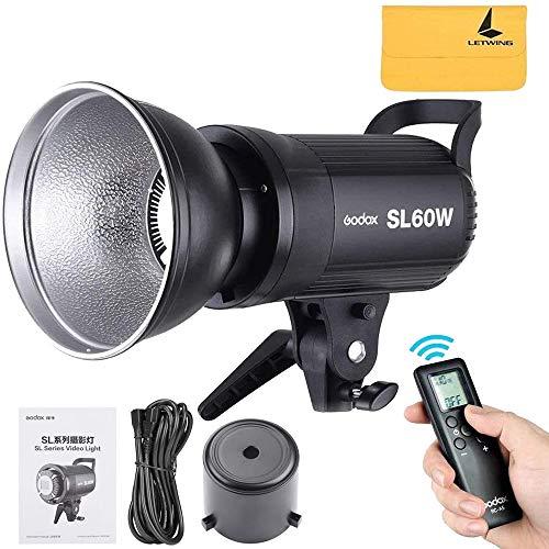 Godox SL-60W SL60W 60W 5600K Weiß LED-Videoleuchte Drahtlose Fernbedienung mit Bowens Mount für Videoaufzeichnung, Hochzeit,Außenaufnahmen (SL60W)
