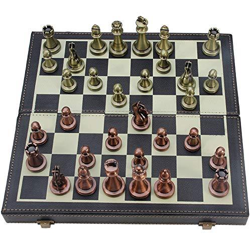 Juego de ajedrez internacional Ajedrez de lujo de metal grande Juego de mesa de aleación chapado en cobre retro Caja de madera portátil de...