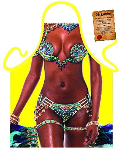 Tabliers en kit avec certificat/Fun cadeau d'anniversaire/de motif pour votre cuisine Party et bien plus encore/Grand choix de motifs, 100 % polyester, Motivschürze: Brazil Girl, Taille unique