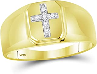 10k Yellow Gold Mens Diamond Cross Ring Religious Band Square Frame Brushed Finish Polished 1/20 ctw