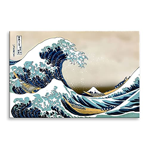 Cuadro Lienzo LA Gran Ola DE Kanagawa (Hokusai) sobre Bastidor de Madera (75x50)