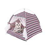 Ryoizen Tienda de campaña para gatos y perros de tela portátil para gatos y animales domésticos extraíble y lavable de estilo marino con cojín para gatos (estilo marino), tamaño mediano