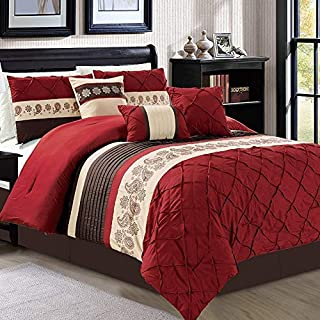 JBFF Modern 7 Piece Oversize Embroidered Comforter Set Bedding with Accent Pillows (Burgundy, King)
