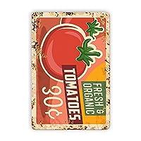 金属フレッシュフルーツのロゴ、ファーマーズマーケットのロゴ、フレッシュオーガニックトマト、農家の看板、カフェバーバーショップの壁のための面白いレトロなロゴ、8×12インチ