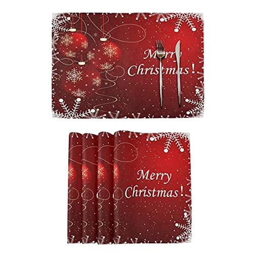 Bolas De Navidad Mesas De Copo De Nieve Esteras para Cocina Comedor Invierno Navidad Año Nuevo Manteles De Tapetes De Cocina Resistentes Al Calor para La Decoración del Hogar De Mesa