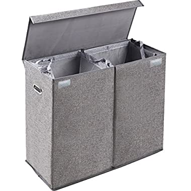 Dirty Clothes Hamper with Lid, Large Double Laundry Hamper Sorter 2 Section with Removable Liner, Detachable Divider, Gray Laundry Basket