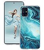Layeri Galaxy M31s Hülle Kompatibel mit Samsung Galaxy M31s Hülle Silikon TPU Glitzer Transparent Marmor Blumen Muster Motiv Handyhülle Durchsichtige Anti-Gelb Dünn Schutzhülle Galaxy M31s Tasche