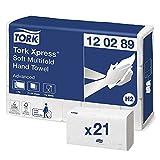 Tork Xpress weiche Multifold Papierhandtücher 120289 - H2 Advanced Falthandtücher für Handtuchspender - saugfähig und reißfest, 2-lagig, weiß - 21 x 180 Tücher