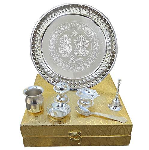 PEEGLI Indisch Traditionell Pooja Thali Mit Box Handgemacht Deutsche Silber Puja Thali 7 Set Festival Ethnisch Arti Thali 8,5 Zoll