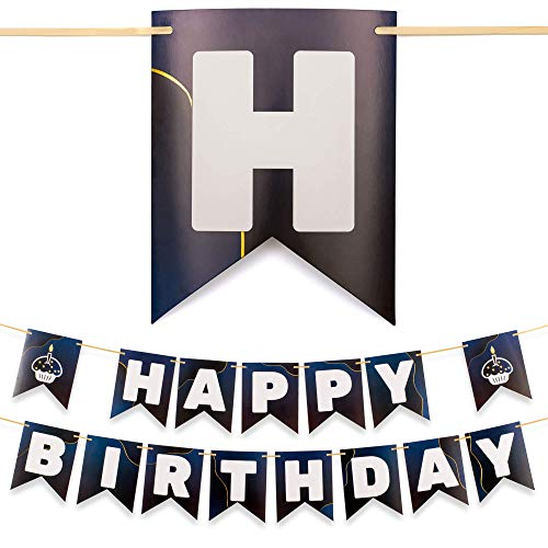CORRURE Happy Birthday Banner - Pre-Strung Blue Banners with Gold Foil - Large Party Flag Banner for Women, Men, Girls or Boys - Fun Quality Birthday Decorations Supplies - No Assemble Required