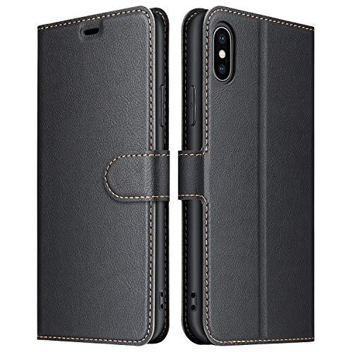 ELESNOW Hülle für iPhone X/XS, Premium Leder Flip Wallet Schutzhülle Tasche Handyhülle für iPhone X/XS (Schwarz)