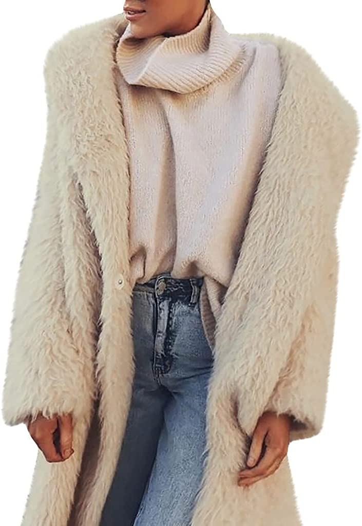 Rovga Women's Casual Long Sleeve Open Front Soft Faux Fur Sweater Cardigan Outerwear with Pockets