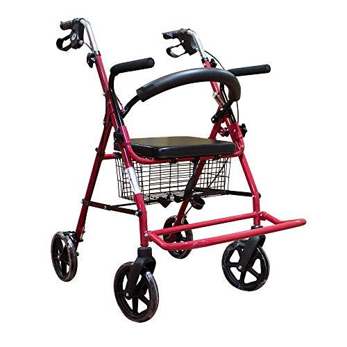 Mobiclinic, Modelo Colón, Andador y silla de ruedas para minusvalidos, ancianos, adultos o mayores, 2 en 1, de aluminio, ligero, plegable, con asiento y 4 ruedas. Color Burdeos
