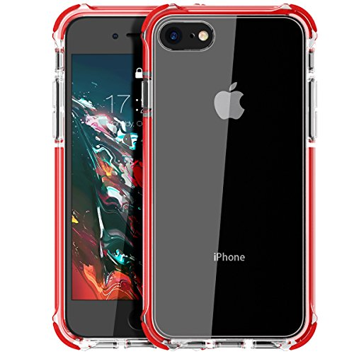 MATEPROX Cover iPhone SE 2020,Cover iPhone 8,Cover iPhone 7,Custodia Protezione Slim Anti Scivolo Anticaduta Anti-shocke Antiurto AntiGraffio Posteriore Trasparent Cover per iPhone 8 7 SE 2020-Rosso
