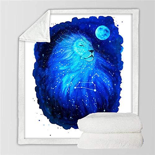 LIFUQING Constellation Sign Galaxy Star Loewe Star Manta De Microfibra De Felpa Manta Sofá Ropa De Cama Adulto-150X200Cm