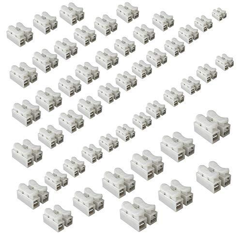 50 Stück/pack Weiß CH2 Federverbindungsstück, Klemmverbinder Kabel Stecker Drahtklemmen, Schnellanschlussklemme, die LED Streifen Licht Draht Anschluss, 2 Pins Kabel Stecker