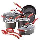 Rachael Ray Brights Hard Anodized Nonstick Cookware Set / Pots and Pans Set - 12 Piece, Gray with Red Handles