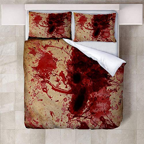 YLWMBB Bettwäsche Set Blutflecken 3D Druck Wende Bettbezug Set Faltenfreie Bettdecke Bettbezug Sets mit 2 Kissenbezügen und Reißverschluss 140x200cm