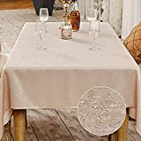 BALCONY & FALCON Mantel antimanchas, mantel rectangular impermeable elegante para Navidad cumpleaños (beige, 140 x 240 cm)