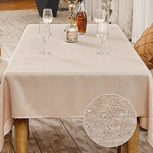 Balcony &Falcon - Mantel de mesa decorativo para fiesta, efecto lino, rectangular, impermeable, antimanchas, 140 x 180 cm, color beige