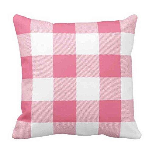 Throw - Funda de almohada rústica rosa y blanca de búfalo a cuadros decorativos, funda de almohada cuadrada de 50 x 50 cm