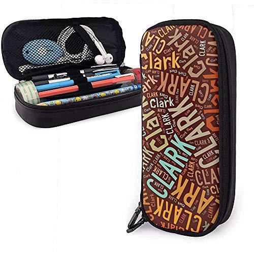 Clark American Apellido Funda de lápiz de cuero de alta capacidad Soporte para lápices Bolsa de almacenamiento grande Organizador de caja Bolígrafo de oficina Bolso cosmético portátil