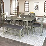 6 Piece Dining Table Set, Wood Dining Dinette Table and 4 Chairs with 1 Bench with Cushion, Rustic Style Kitchen Table Set for 6 Persons, Retro Gray