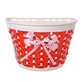 ULKEME Fahrradkorb für Roller, Kunststoff, gestrickt, mit Schleife, Knoten vorne, handgefertigt rot