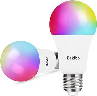 bakibo Lampadina Wifi Intelligente Led Smart Dimmerabile 9W 1000Lm, E27 Multicolore Lampadina Compatibile con Alexa e Goog...