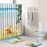 Xmansky Ocean Beach-Stil Duschvorhänge Badematten Set 4tlg, Badgarnitur Badezimmer Matte Set Dusch Bade Matte Vorleger Teppich für Schwimmbad Toilet