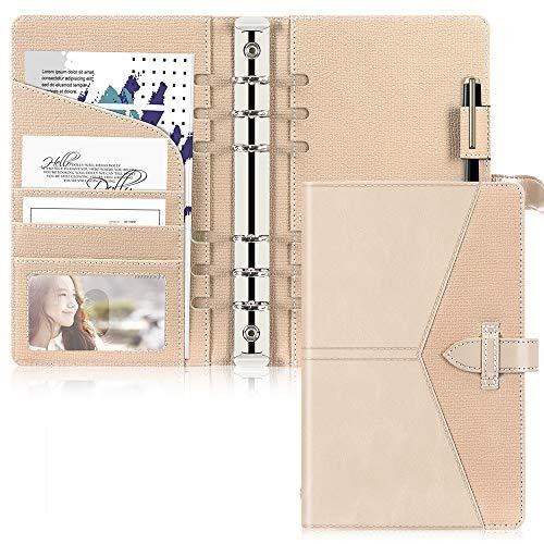 Toplive Leder A6 Binder, 6 runde Ringbinder Planer Notebook Cover für A6 Füllpapier (Innenpapier nicht enthalten),Gold