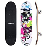 ENKEEO Skateboards Complete 32' 9 Ply Maple Wood Double Kick Concave Skateboards for Girls, ABEC-9 Tricks Stake Board for Beginners and Pro