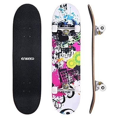 enkeeo スケートボード 32インチ ABEC9製ベアリング 高精度 集中力や平衡感覚育成 スケボー初心者に 大人/若者/子供用 誕生日/ギフト/プレゼント/贈り物などにYWHB-03【メーカー保証】